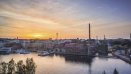 Näkymä Tampereesta auringonlaskun aikaan. Kuva: Laura Vanzo / Visit Tampere