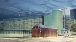 Havainnekuvassa Kuntokadulle rakennettava uusi pysäköintilaitos.