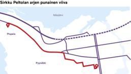 Karttakuva, johon on punaisella viivalla merkitty Sirkku Peltolan kävelymatka Pispalasta Tampereen Työväen Teatterille.